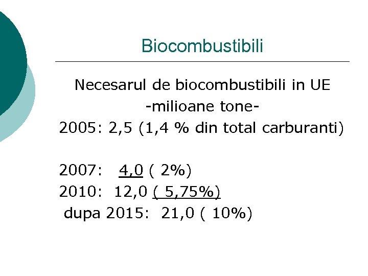 Biocombustibili Necesarul de biocombustibili in UE -milioane tone 2005: 2, 5 (1, 4 %