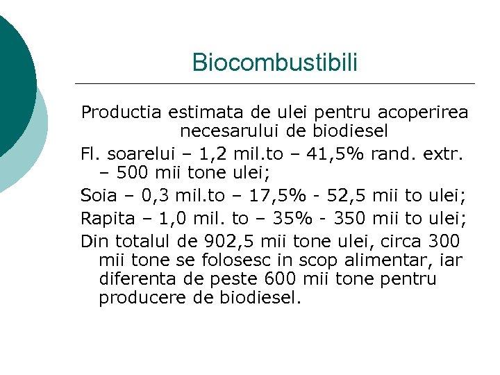 Biocombustibili Productia estimata de ulei pentru acoperirea necesarului de biodiesel Fl. soarelui – 1,
