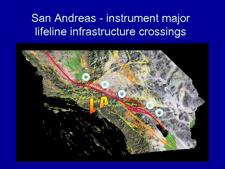 San Andreas - instrument major lifeline infrastructure crossings