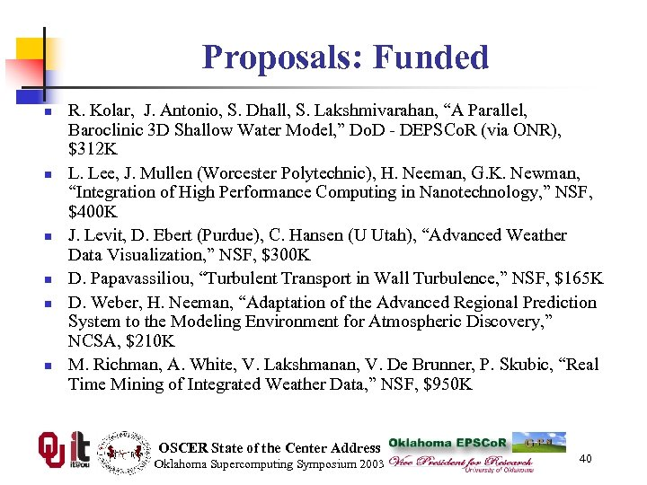 "Proposals: Funded n n n R. Kolar, J. Antonio, S. Dhall, S. Lakshmivarahan, ""A"