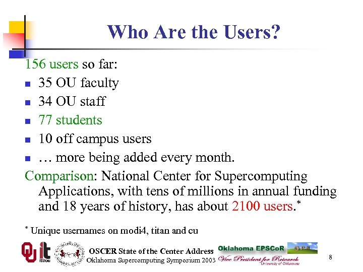 Who Are the Users? 156 users so far: n 35 OU faculty n 34
