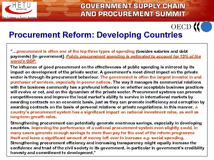 "Procurement Reform: Developing Countries ""…procurement is often one of the top three types of"