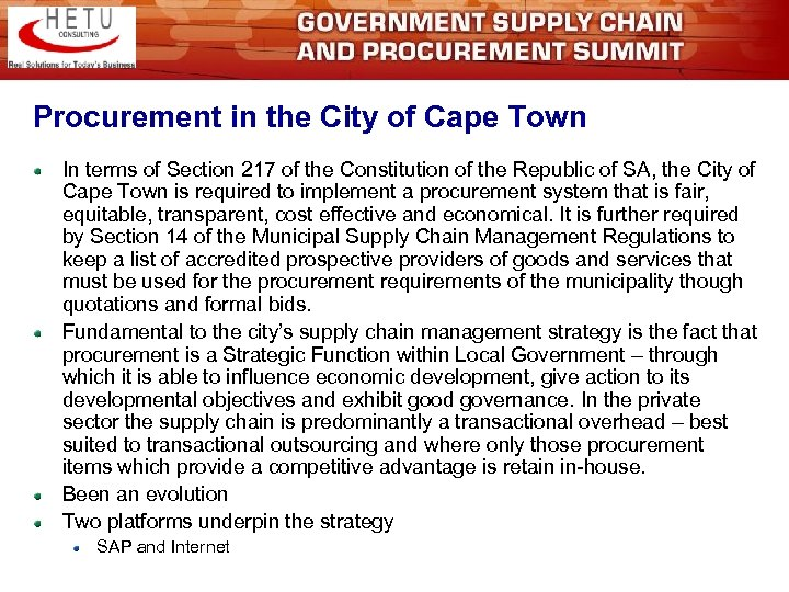 Procurement in the City of Cape Town In terms of Section 217 of the
