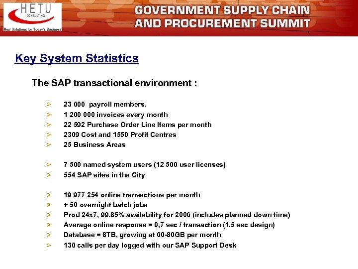 Key System Statistics The SAP transactional environment : Ø Ø Ø Ø 23 000
