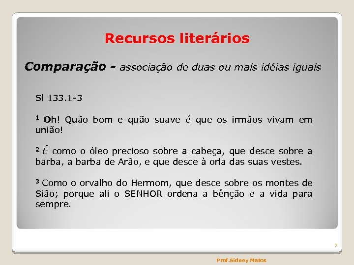 Recursos literários Comparação - associação de duas ou mais idéias iguais Sl 133. 1