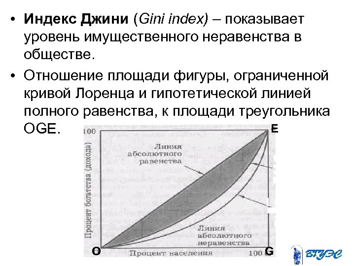 • Индекс Джини (Gini index) – показывает уровень имущественного неравенства в обществе. •