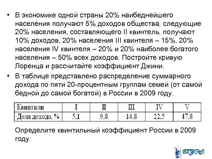 • В экономике одной страны 20% наибеднейшего населения получают 5% доходов общества, следующие