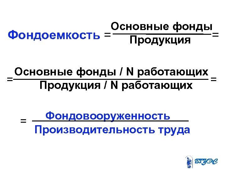 Основные фонды Фондоемкость = Продукция Основные фонды / N работающих = Продукция / N