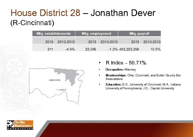 House District 28 – Jonathan Dever (R-Cincinnati) Mfg. establishments Mfg. employment 2013 2010 -2013