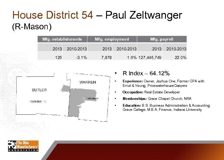 House District 54 – Paul Zeltwanger (R-Mason) Mfg. establishments Mfg. employment 2013 2010 -2013