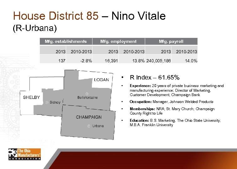 House District 85 – Nino Vitale (R-Urbana) Mfg. establishments Mfg. employment 2013 2010 -2013