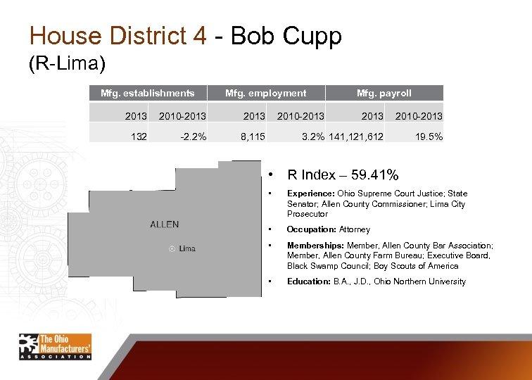 House District 4 - Bob Cupp (R-Lima) Mfg. establishments Mfg. employment 2013 2010 -2013