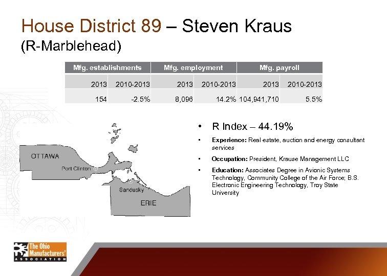 House District 89 – Steven Kraus (R-Marblehead) Mfg. establishments Mfg. employment 2013 2010 -2013
