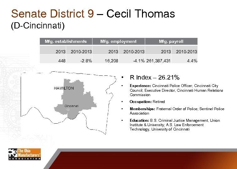 Senate District 9 – Cecil Thomas (D-Cincinnati) Mfg. establishments Mfg. employment 2013 2010 -2013
