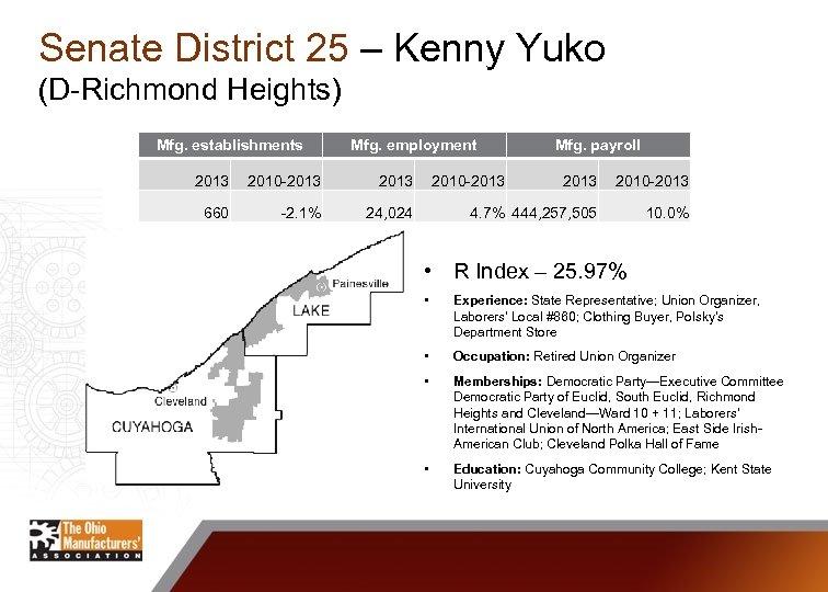 Senate District 25 – Kenny Yuko (D-Richmond Heights) Mfg. establishments Mfg. employment 2013 2010