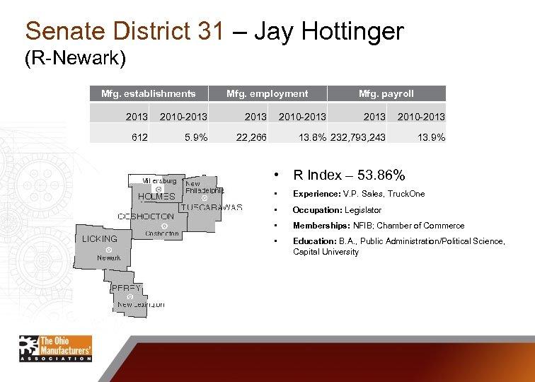 Senate District 31 – Jay Hottinger (R-Newark) Mfg. establishments Mfg. employment 2013 2010 -2013