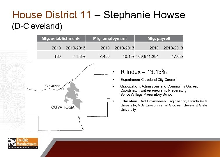 House District 11 – Stephanie Howse (D-Cleveland) Mfg. establishments Mfg. employment 2013 2010 -2013