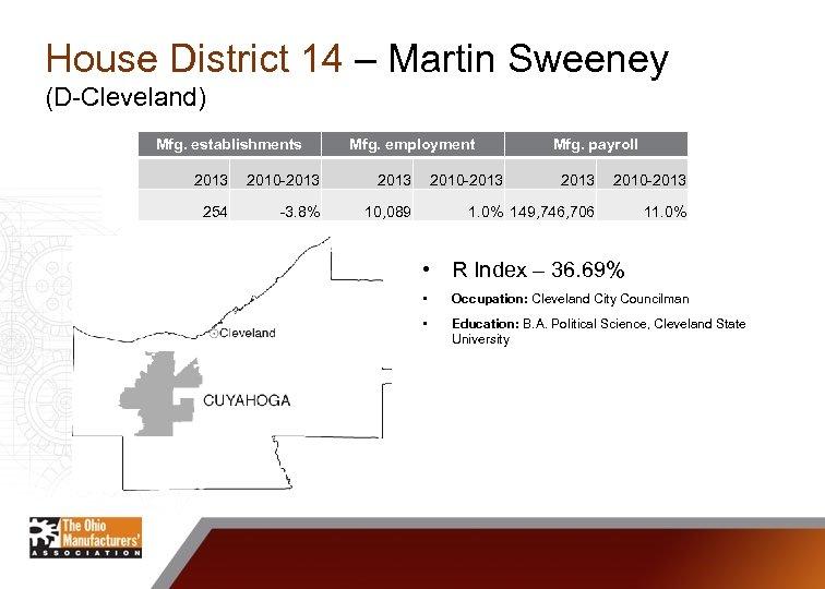 House District 14 – Martin Sweeney (D-Cleveland) Mfg. establishments Mfg. employment 2013 2010 -2013