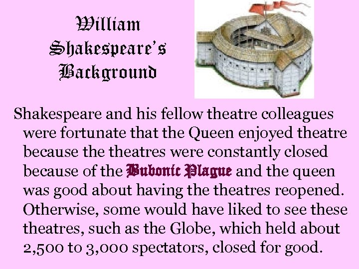 William Shakespeare's Background Shakespeare and his fellow theatre colleagues were fortunate that the Queen