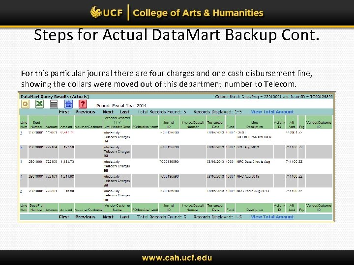 Steps for Actual Data. Mart Backup Cont. For this particular journal there are four