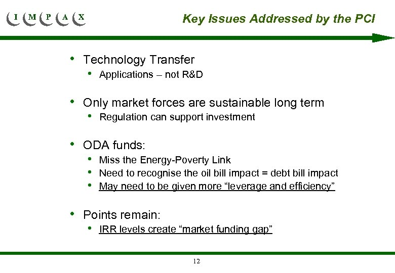I M P A Key Issues Addressed by the PCI X • Technology Transfer