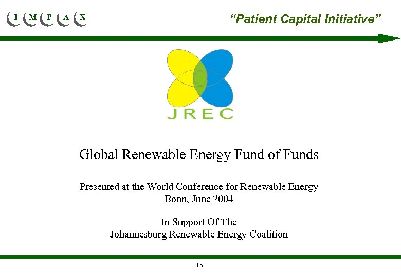 """I M P A """"Patient Capital Initiative"""" X Global Renewable Energy Fund of Funds"""