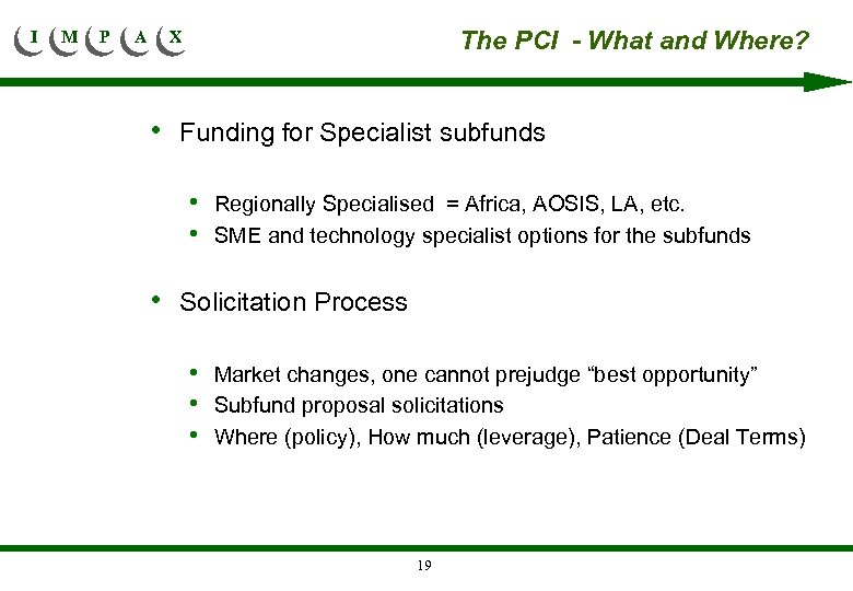I M P A The PCI - What and Where? X • Funding for