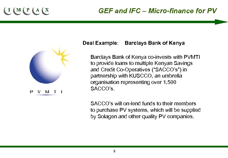 I M P A X GEF and IFC – Micro-finance for PV Deal Example: