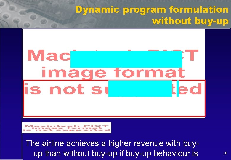 Dynamic program formulation without buy-up The airline achieves a higher revenue with buyup than