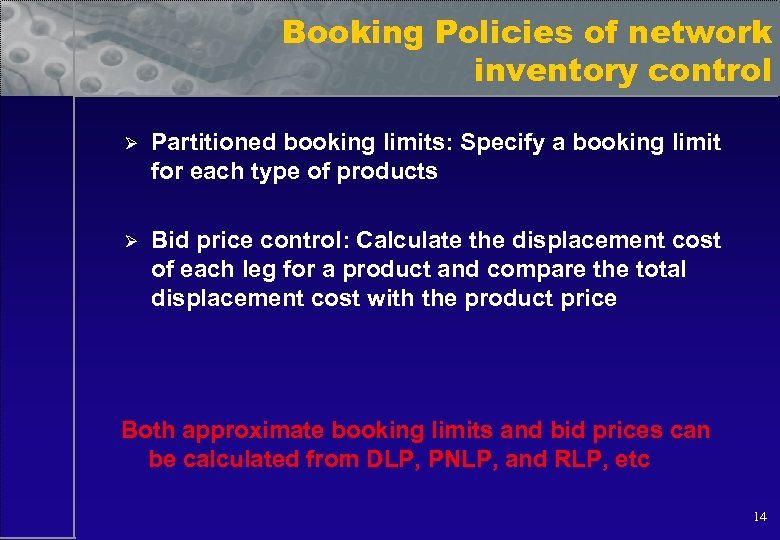 Booking Policies of network inventory control Ø Partitioned booking limits: Specify a booking limit