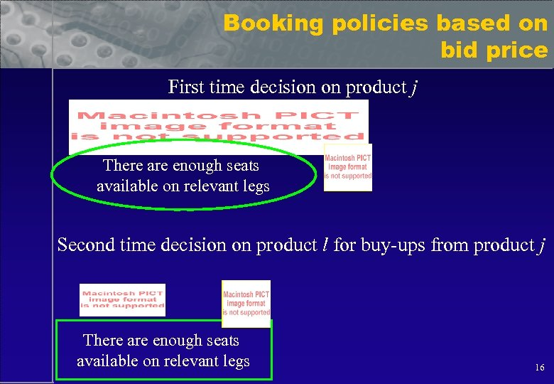 Booking policies based on bid price First time decision on product j There are
