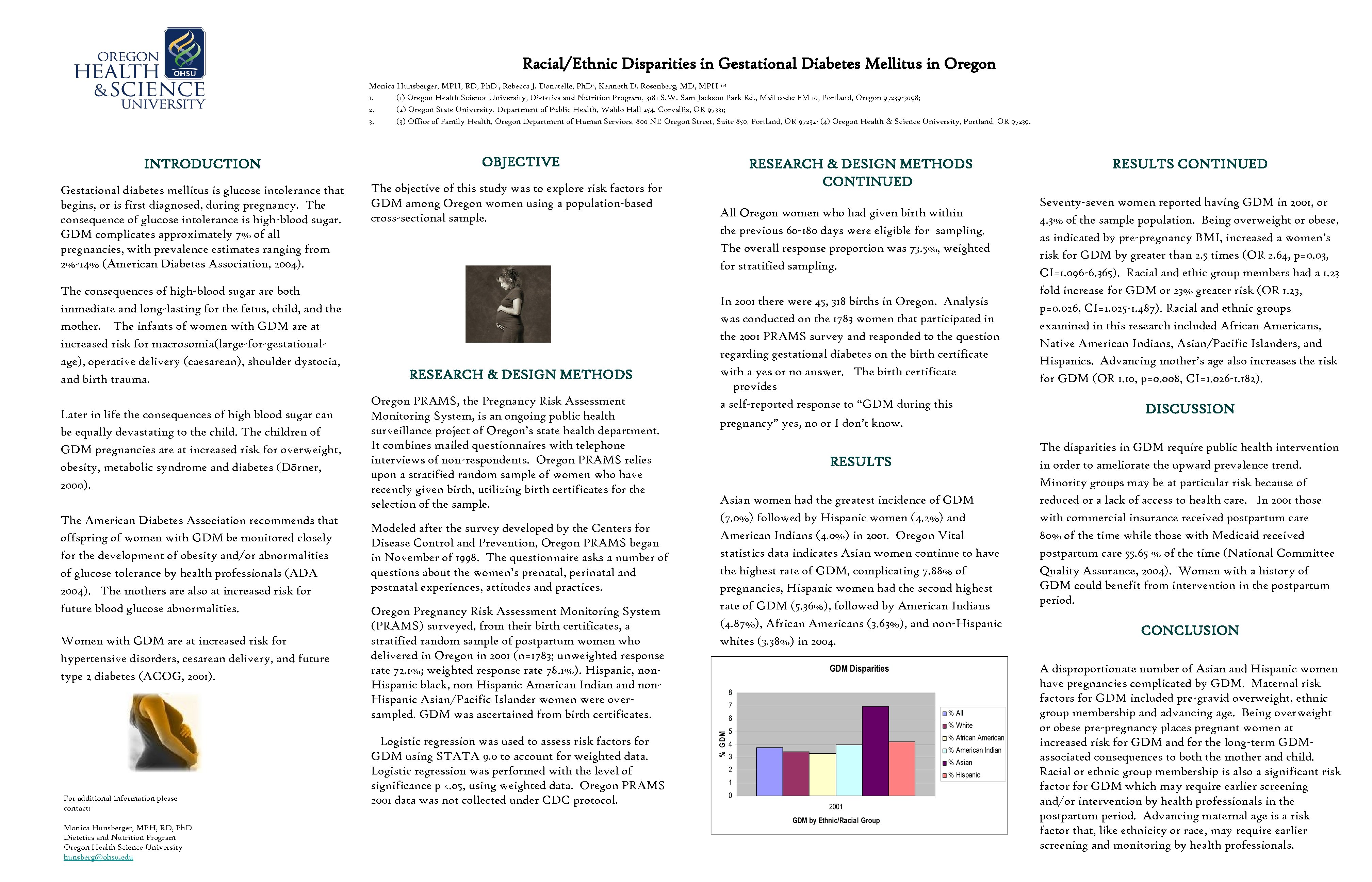 Racial/Ethnic Disparities in Gestational Diabetes Mellitus in Oregon Monica Hunsberger, MPH, RD, Ph.