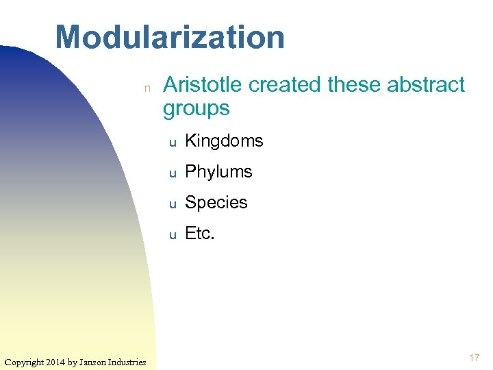 Modularization n Aristotle created these abstract groups u u Phylums u Species u Copyright