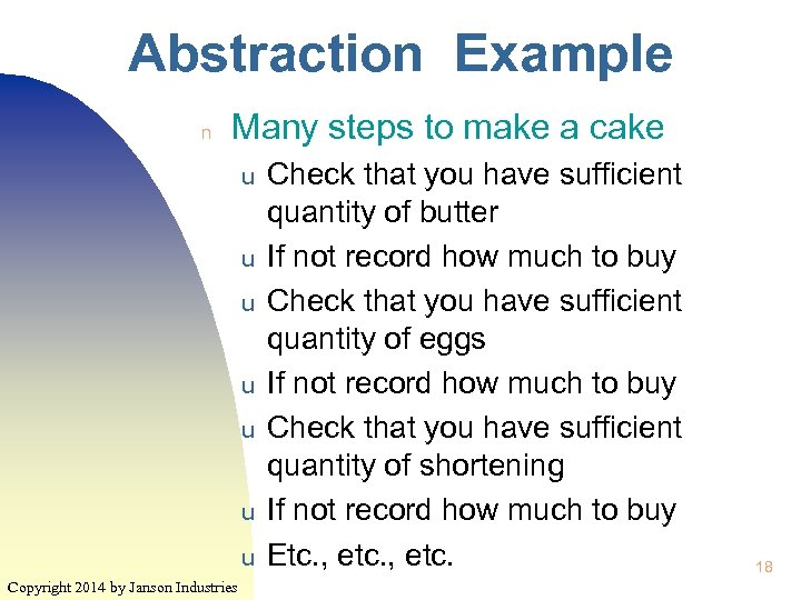 Abstraction Example n Many steps to make a cake u u u u Copyright