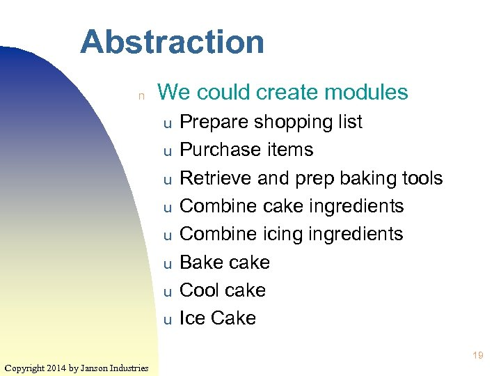 Abstraction n We could create modules u u u u Prepare shopping list Purchase
