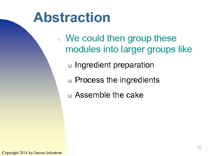 Abstraction n We could then group these modules into larger groups like u Ingredient
