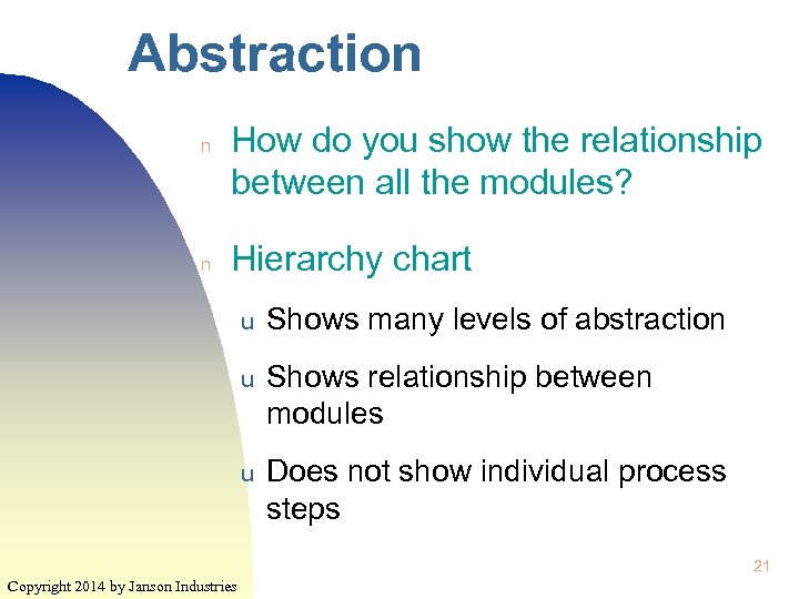 Abstraction n n How do you show the relationship between all the modules? Hierarchy