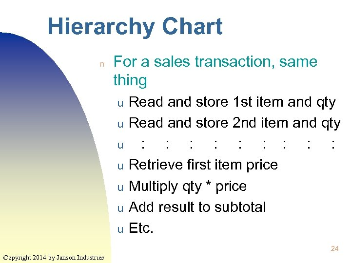 Hierarchy Chart n For a sales transaction, same thing u u u u Read