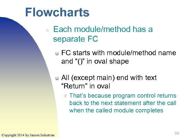 Flowcharts n Each module/method has a separate FC u FC starts with module/method name