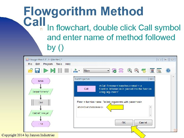 Flowgorithm Method Call In flowchart, double click Call symbol n and enter name of