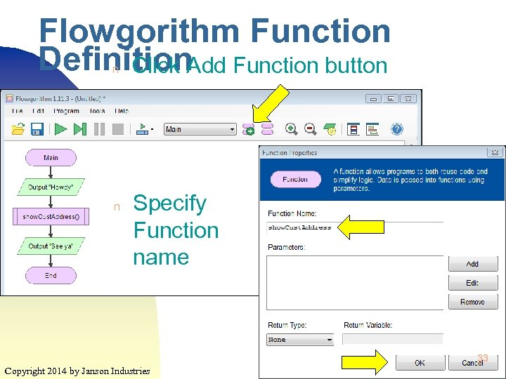 Flowgorithm Function Definition Function button Click Add n n Specify Function name 33 Copyright