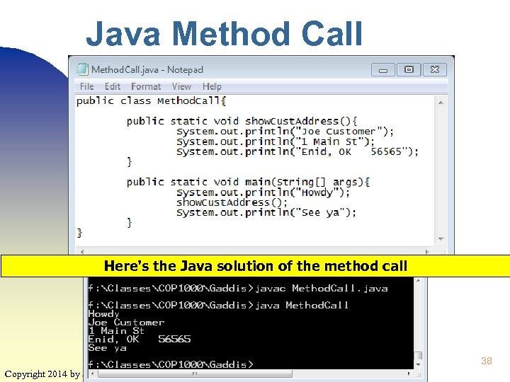Java Method Call Here's the Java solution of the method call 38 Copyright 2014