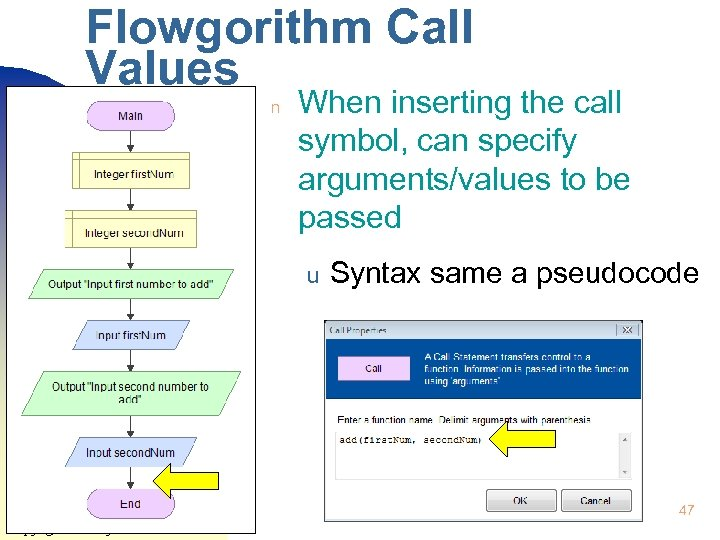 Flowgorithm Call Values n When inserting the call symbol, can specify arguments/values to be