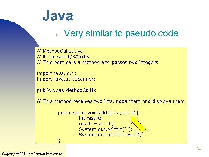 Java n Very similar to pseudo code // Method. Call 1. java // R.