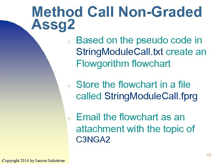 Method Call Non-Graded Assg 2 n n n Based on the pseudo code in