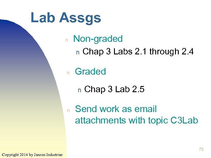 Lab Assgs n Non-graded n n Graded n n Chap 3 Labs 2. 1