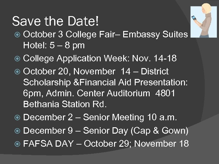 Save the Date! October 3 College Fair– Embassy Suites Hotel: 5 – 8 pm