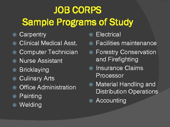 JOB CORPS Sample Programs of Study Carpentry Clinical Medical Asst. Computer Technician Nurse Assistant