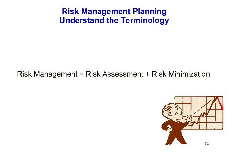 Risk Management Planning Understand the Terminology Risk Management = Risk Assessment + Risk Minimization