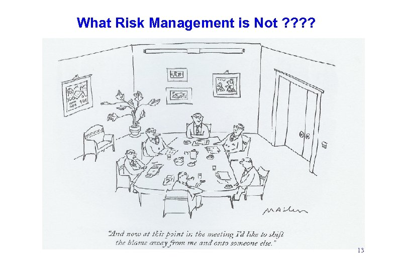 What Risk Management is Not ? ? 13